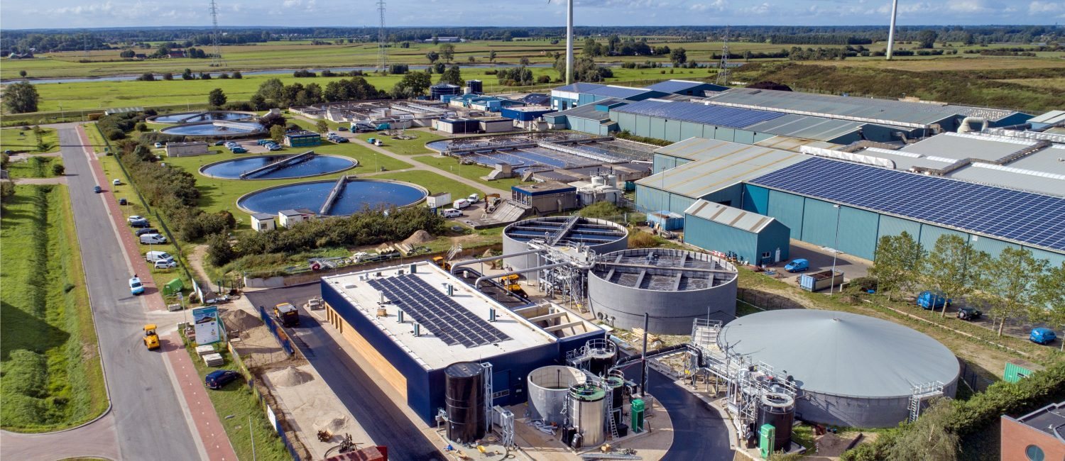 Bird's eye view of water treatment plant