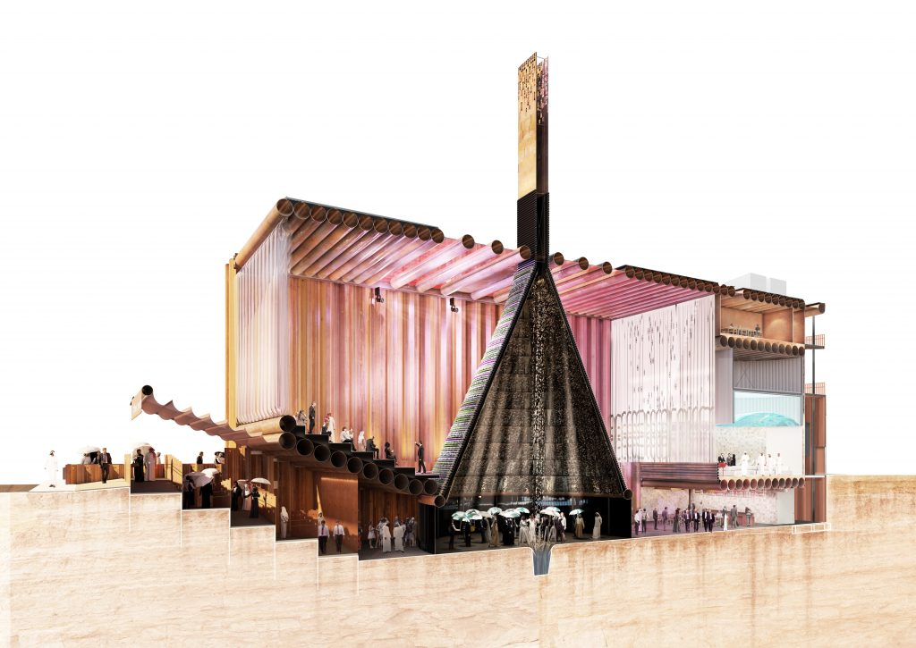 Rendered image of cross-section of Dutch pavilion