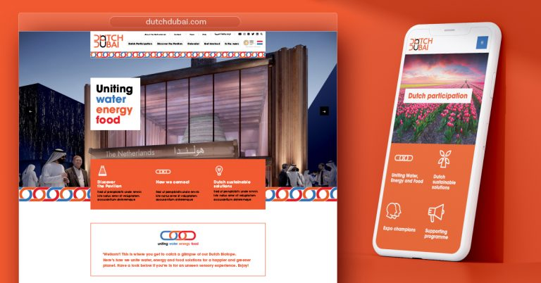Image of Dutch Dubai website displayed on desktop and phone