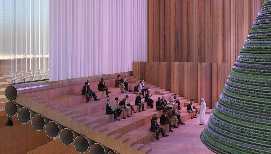 Impression of the auditorium in the Dutch pavilion with people listening